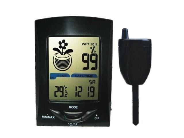Wireless soil moisture and temperature meter